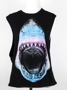 We really appreciate a print that can so accurately depict a current mood...like this one. Here's a black muscle tank with a multi-color print of a hungry shark. Pair with cut-off shorts and sandals.