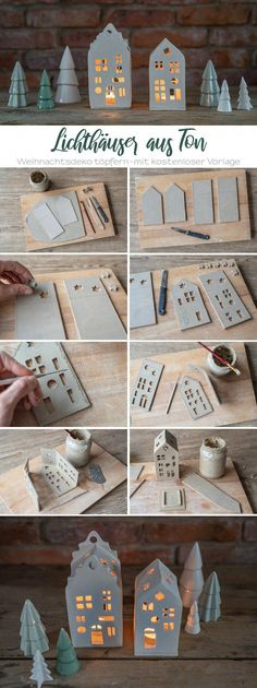 My Potter& Diary Instructions for clay light houses as Christmas decorations - Leelah Loves crafts crafts crafts bottle crafts crafts Christmas Holidays, Christmas Crafts, Christmas Decorations, Christmas Ornaments, Holiday Decor, Christmas Lights, Christmas Clay, Xmas, Diy Clay