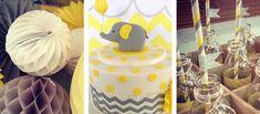Yellow + Grey Elephant gray elephant baby showerThemed Birthday Party