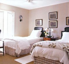 Room of the Day ~ charming soft brown and white checks with black accents and a  quilt with black antique beds ~ Robin Bell design 8.9.2014