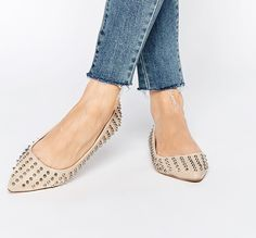 nude spiked ballet flats