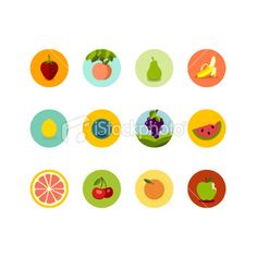 Fruit Icons Royalty Free Stock Vector Art Illustration
