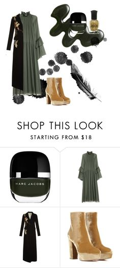 """""""Wuthering heights. Deep green nail polish"""" by bonafutura ❤ liked on Polyvore featuring Marc Jacobs, Valentino and Gianvito Rossi"""