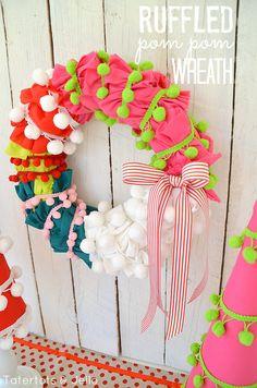 Holiday Pom Pom Trees & Wreath at Tatertots and Jello!! #DIY