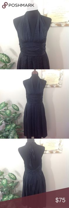 """Adrianna Papell Black Halter Dress Prom Wedding 4 Adrianna Papell black, halter top dress. Has a beautiful silky sheen finish and rouched waistband. Pleats creates a full skirt that is supported by one layer of netting attached to the lining. Perfect for dressy occasions like weddings or prom. Lying flat, approximate measurements are: bust 18""""; waist 16""""; hip 30""""; length 42"""". (F0405-041) Adrianna Papell Dresses Backless"""