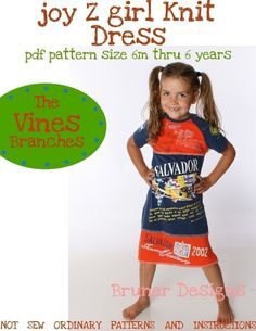 joy Z girl dress PATTERN using knit fabric or by TheVinesBranches, $12.00