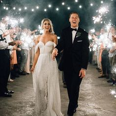 Light up the night! The sparkler exit will never go out of style. ✨ #theknot  : @bethanysmallphoto
