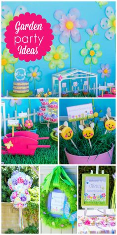 A Butterfly Garden birthday party with bright beautiful colors and held in a backyard!  See more party planning ideas at CatchMyParty.com!
