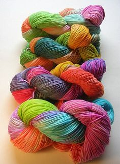 Yarn dyed with Easter egg dye! I knew there was a reason I bought all of that egg dye from the clearance section!