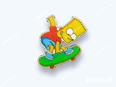 Барт №4  значок, значок из дерева, деревянные значки, деревянная брошь, ручная работа, handmade, brooch, wood, pin,  pins button,  patches pins, Барт, Симпсоны, Bart, Simpsons