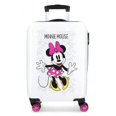Disney Minnie Enjoy The Day Rigid Cabin Trolley Suitcase, 55 cm, 34 Liters, White - Top Luggage UK Hand Luggage Suitcase, Luggage Deals, Kids Luggage, Luggage Brands, Carry On Suitcase, Disney Luggage, Childrens Luggage, Toddler Girls, Everything