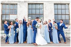 Wedding Suits A Slate Blue Wedding at the Southern Bleachery - A gorgeous slate blue wedding at the Southern Bleachery in Greenville, South Carolina. Light Blue Bridesmaid Dresses, Light Blue Dresses, Blue Bridesmaids, Wedding Bridesmaid Dresses, Wedding Suits, Wedding Bouquets, Wedding Flowers, Wedding Rings, Periwinkle Wedding