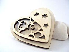 korttiin: Filigree Double Wood Heart Laser Cut Pendant 1 by ShiShisBoutique, $2.50