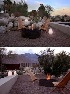 This backyard has a firepit with chairs for socializing on a cool desert night. #firepit #backyard #landscaping