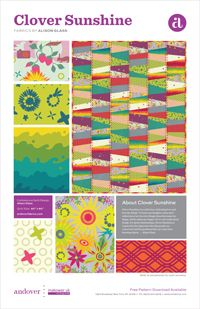 Free pattern featuring Clover Sunshine by Allison Glass for Andover Fabrics ~ Find the fabric here http://www.fabricshack.com/cgi-bin/Store/store.cgi?cart_id=4731488.IP71.50.55.110IP.29551.s0&lastmenu&product=andover_cloversunshine at the Fabric Shack