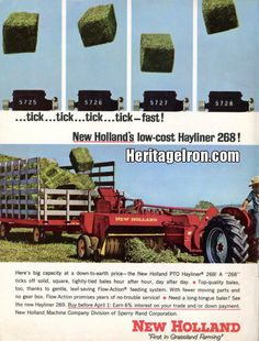 New Holland PTO Hayliner Did anyone find these to be efficient? New Holland Agriculture, New Holland Tractor, Ford Tractors, Old Farm Equipment, Old Advertisements, Ford News, Vintage Farm, Farm Gardens, Farm Life