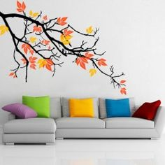 Pretty Autumnal Branch Wall Decal is customizable and removable. We use the best quality material to manufacture our wall decals. All wall decals are made to order and manufactured in Canada. Simple Wall Paintings, Creative Wall Painting, Creative Wall Decor, Wall Painting Decor, Mural Wall Art, Diy Wall Art, Diy Wall Decor, Creative Walls, Wall Decal