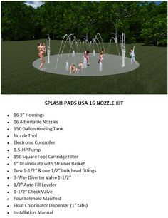 Splash pad DIY item list.