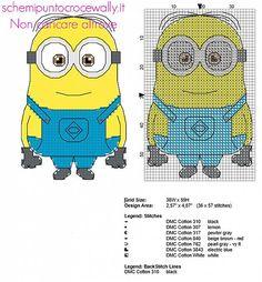 Il Minion Dave dal cartone animato Minions piccolo schema punto croce con punto scritto