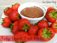 Fudgy Yogurt Fruit Dip from SixSistersStuff.com. Tastes amazing with strawberries and pineapple!