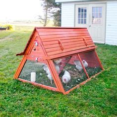 Up to six hens can roost in the loft of this portable chicken coop at night and head down to screened area during the day. Once they're done fertilizing a patch of grass, just grab the sturdy handles and find a new spot. About $700 at handcraftedcoops.com. | Photo: Courtesy of Handcrafted Coops | thisoldhouse.com