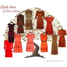 Lipstick colours for Warm Autumns by carolgrant, via Polyvore