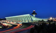 Main Terminal of Washington Dulles International Airport at dusk in Virginia (August by Joe Ravi. Main terminal was designed in 1958 by famed Finnish architect Eero Saarinen. United Airlines, West Palm Beach, Charleston Sc, Concorde, Washington Dulles International Airport, Road Trip Across America, Lithuania Travel, Solar Energy Projects, Equador