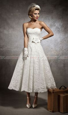 New Stock UK6 8 10 12 14 16 White Ivory Vintage Lace Tea Length Wedding Dresses | eBay