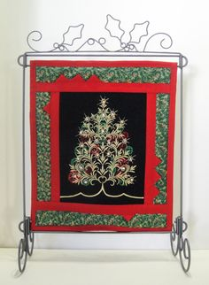 Twinkling Lights Christmas Tree Mini Quilt Embroidery Project by Pat Williams