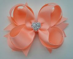 Peach Hair Bow with Sparkly Heart~ Peach Stacked Boutique Hair Bow~ Gift for Her~ Gift for Girl~ Photo Prop~ Formal Hair Bow~ Peach Bow by GhinesCreations on Etsy