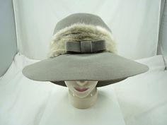 Vintage Lilly Dache Gray wool felt Hat w/ Fur... Made in France