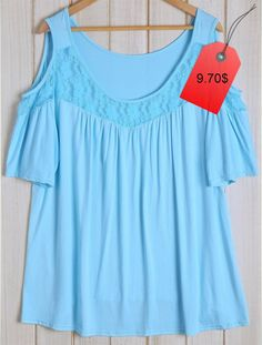 Fashionable Women's Scoop Neck Lace Spliced Short Sleeve Loose T-Shirt