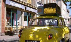 Sur les grands chemins de France!  Sac Hurbane en cuir jaune