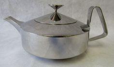 Midcentury 1960s Old Hall Bright Stainless Steel Alveston Teapot Robert Welch