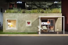 the full-scale installation consists of two houses built with innovative solutions: the technology of hemp and the dry construction system supported by metal frames. Green Building, Building A House, Small Places, Play Houses, Tiny House, The Good Place, Shed, Construction, Exterior
