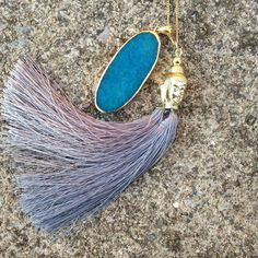"Boho Blue Necklace ✌️ OBSESSED! This is a boho style gold necklace, chain 18"", agate inspired blue pendant, grey boho tassel! (Also have in green/white) Jewelry Necklaces"