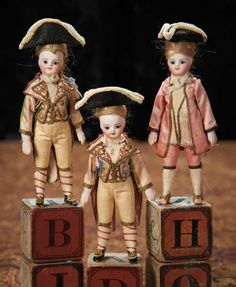 Three French All-Bisque Mignonettes in Superb Original Marquis Costumes 1800/3200 Auctions Online | Proxibid