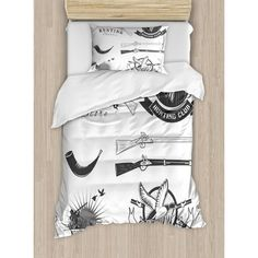 Ambesonne Hunting Store and Club Labels Duck Goose Mallard Shotgun Rifles Reed Bed Duvet Set Size: Twin