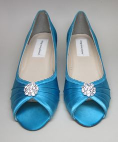 1d7f3b24246 SAMPLE SALE Custom Wedding Shoes - Turquiose Blue Kitten Wedges with  Rhinestone Adornment -- Size 10 Only