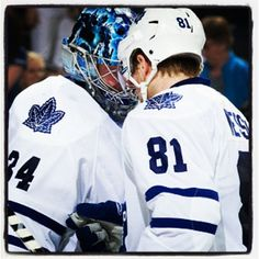 6da3de00acf Kessel   Reimer celebrate after a win. Hockey TeamsHockey BabyIce HockeyToronto  Maple LeafsHelmetBumpFamous ...