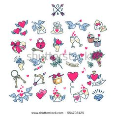 Labels and emblems. To decorate the greetings cards. Little Tattoos, Mini Tattoos, Cute Tattoos, Small Tattoos, White Girl Tattoo, Traditional Heart Tattoos, Halloween Acrylic Nails, Valentines Illustration, Mini Doodle