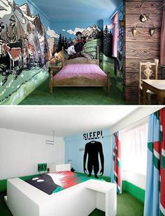 The Fox Hotel in Copenhagen commissioned artists to design all of their rooms. These are two of our favourites. SLEEP people!