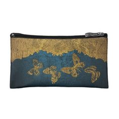 Elegant Faux Leather Golden Butterflies design Makeup Bag - elegant gifts gift ideas custom presents