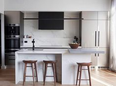 jason & Sarah's kitchen was described by the Judges as 'classic' and 'glamorous'. We loved the mixture of textures with those metallic cabinets, concrete bench top and wooden stools. the block 2017 The Block Kitchen, Concrete Bench Top, The Block Australia, Laundry In Bathroom, Interior Design Kitchen, Kitchen Dining, Kitchen Small, Kitchen Reno, Kitchen Cabinets