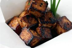 Sweet, Sticky & Spicy Tofu ; hoisin ; chive ; asian ; vegan
