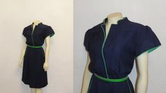 Vintage Dress 70s Breli Navy Blue & Lime by 2sweet4wordsVintage, $35.00