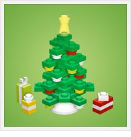 Instructions on how to make Christmas ornaments, Santa's sleigh, gingerbread house and Christmas tree out of Legos