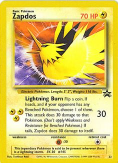 Zapdos - WoTC Promo, Pokemon - Online Gaming Store for Cards, Miniatures, Singles, Packs & Booster Boxes Pokemon 2000, Pokemon Online, Pokemon Go, Pokemon Eeveelutions, Charizard, Pokemon Legendary Birds, Birthday Pikachu, Pokemon Cards For Sale, Letters