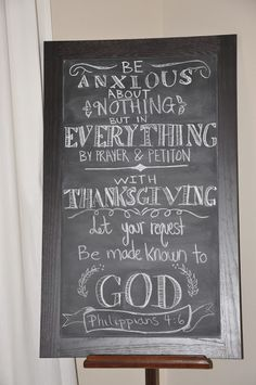 And seek to show hospitality. Thanksgiving decor with typography on chalkboard. Philippians 4:6