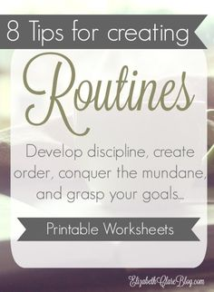 Developing Discipline with Routines AWESOME series on creating routines to help us develop discipline and accomplish everything as moms. Great for homeschoolers and any busy family. Free printable worksheets to help you plan your routine and schedule. Beauty Routine Schedule, Family Schedule, Summer Schedule, Eat Better, Free Printable Worksheets, Alphabet Worksheets, Printable Planner, Free Printables, Time Management Tips